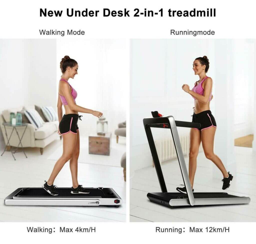 2 part image treadmill with arms folded down on floor walking mode with arms folded up running mode