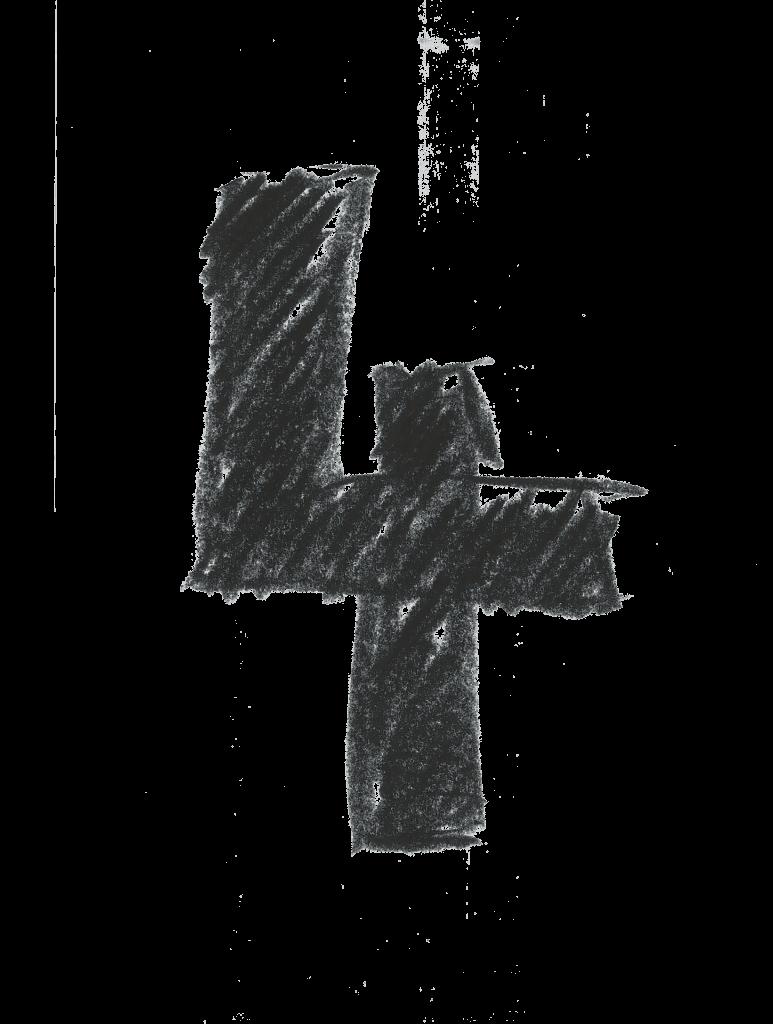 Crosshatch design numeral 4