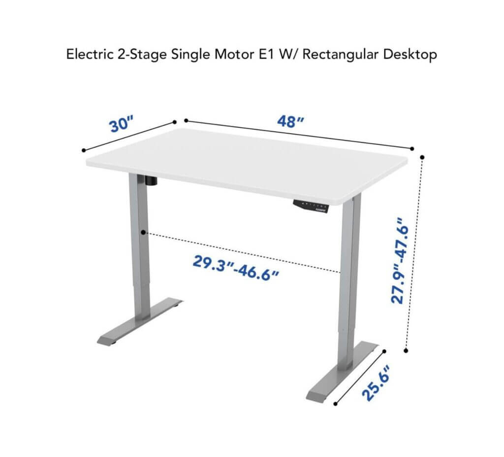 White metal legs with a white desktop black height controls mounted underneath desktop on right side