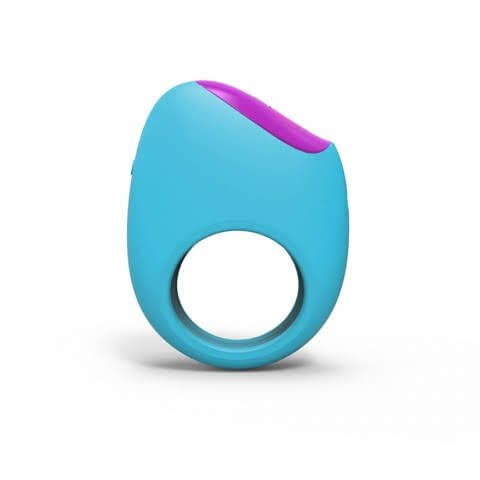 Bright blue penis ring narrow band creates hole purple top is bulbous angles down from left to right