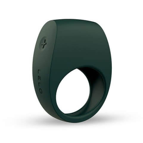Dark green penis ring narrow band creates hole with a bulbous end control on left side squared top