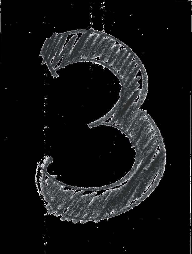 Crosshatch design numeral 3
