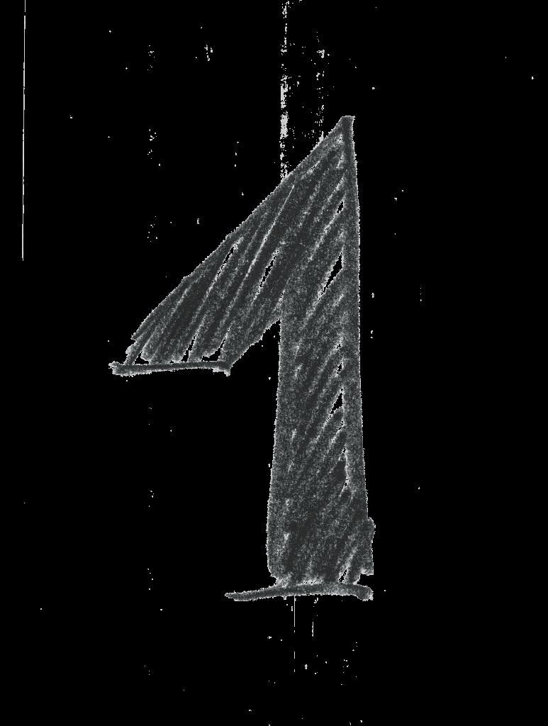 A crosshatch design numeral 1