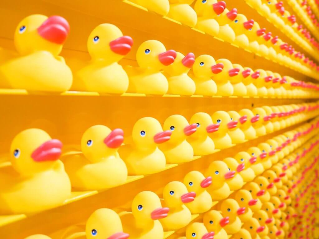 Full wall of yellow shelves filled with numerous yellow rubber duckies in rows all exactly alike