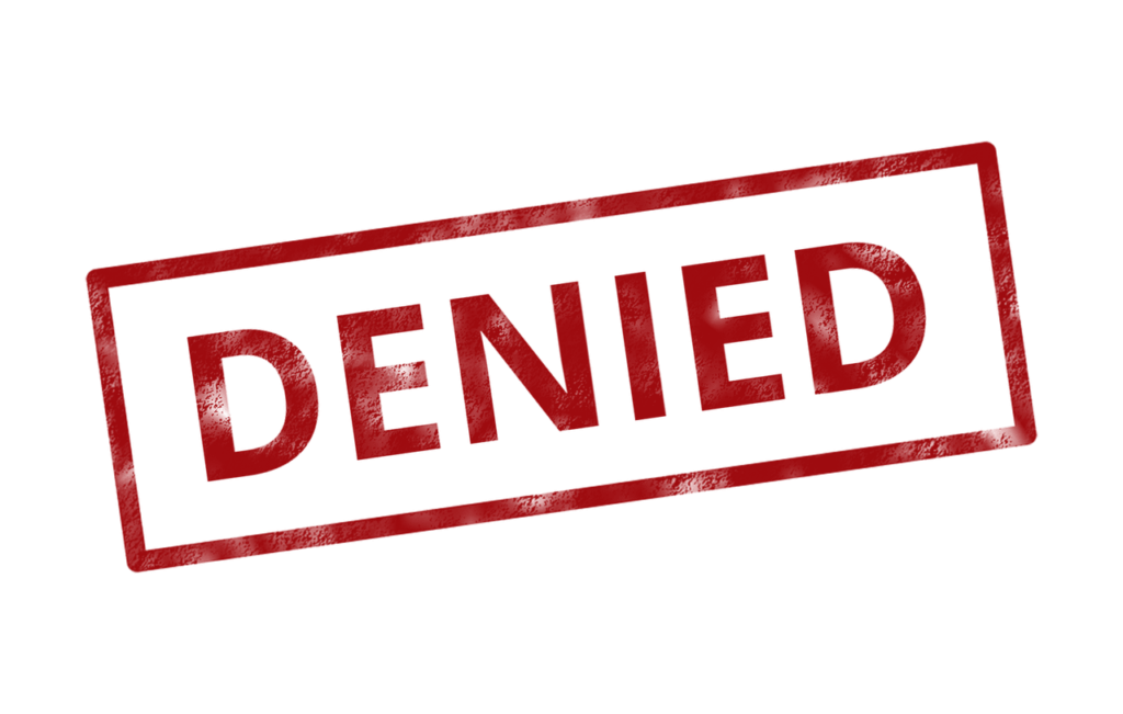 No background image of red stamp with rectangular outline reads denied in all capital letters
