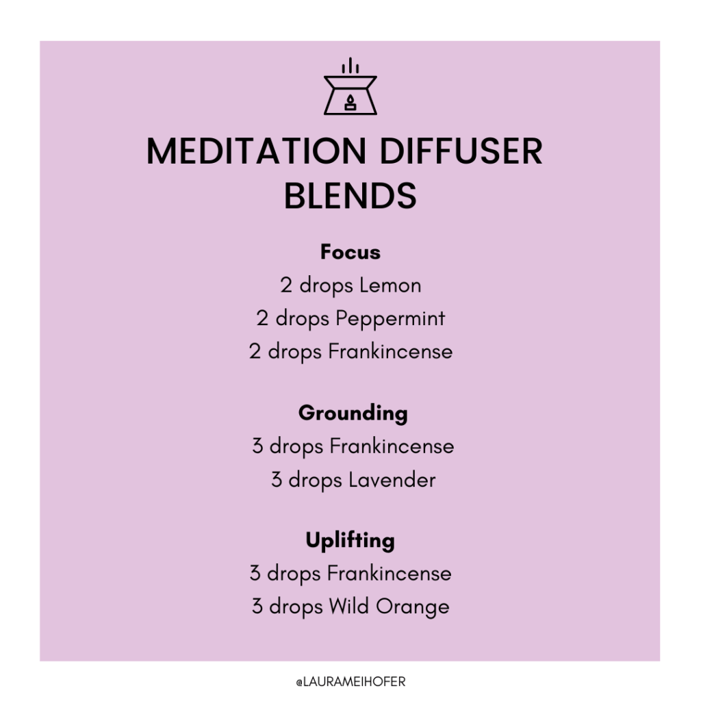 Purple background graphic with 3 essential oil blends to try for focus, uplifting, and grounding
