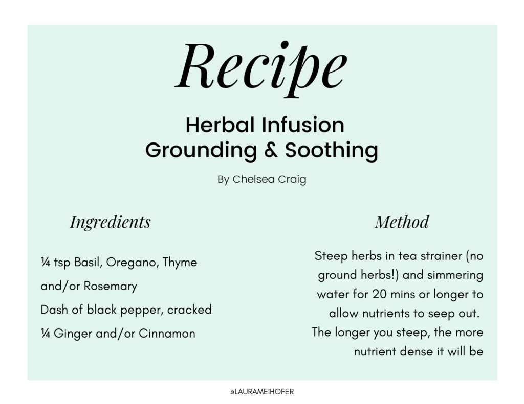 Recipe card instructions and measurements for creating an herbal infusion for grounding and soothing
