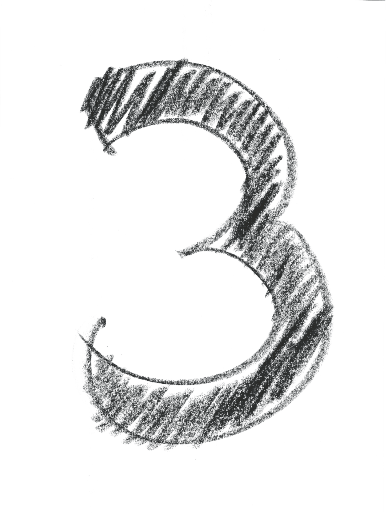 A crosshatch design numeral 3