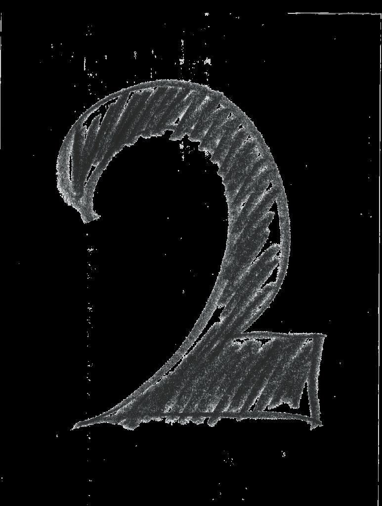 A crosshatch design numeral 2