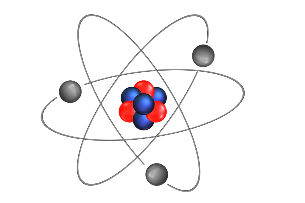 Scientific model of an atom showing neutrons, protons, and electrons rotating with a nucleus