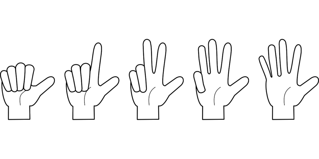Illustration of five white gloved hand outlines each successively holding up one more finger up to 5