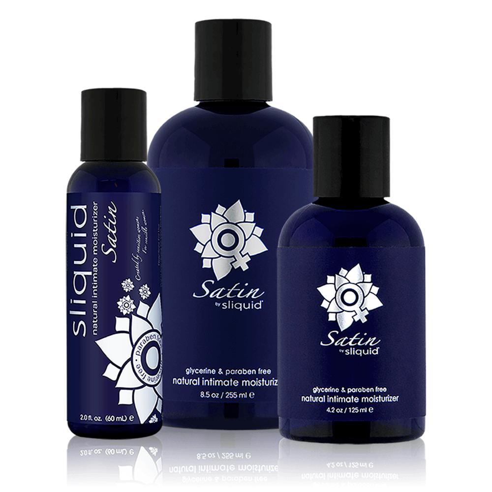 3 sizes of dark navy bottles black lids navy labels read Sliquid Satin natural intimate moisturizer