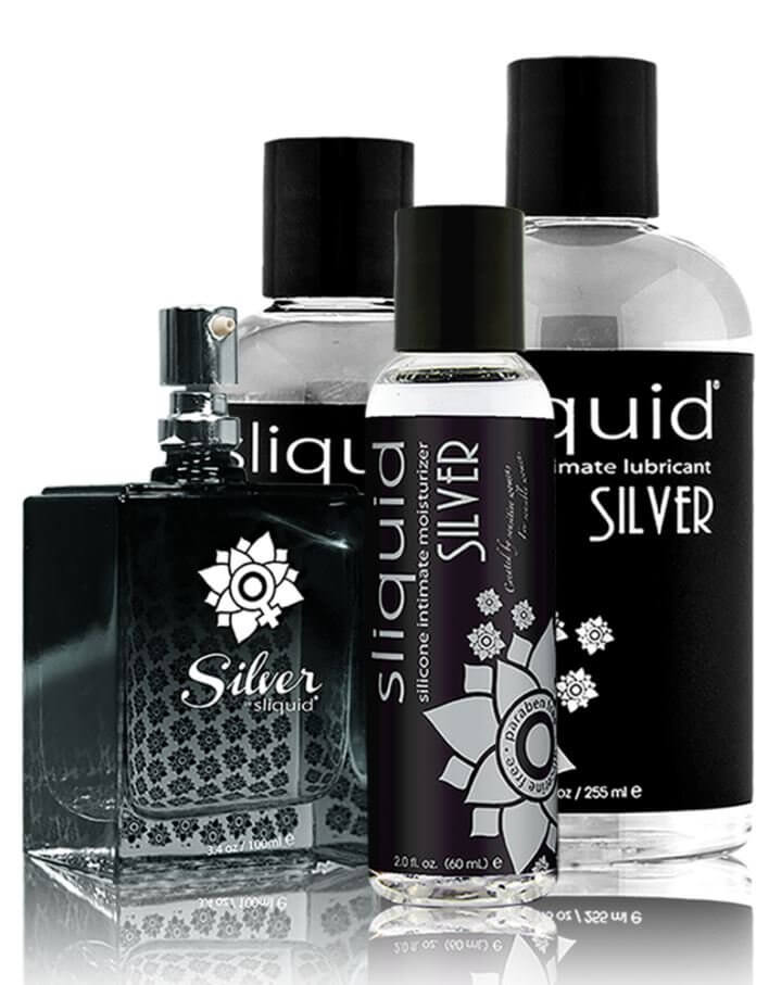 Various size bottles with black labels of Sliquid Naturals Silver silicone intimate moisturizer