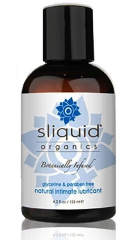A 4.2oz small brown bottle of Sliquid Organics botanically infused natural intimate lubricant