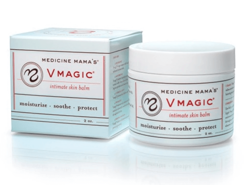 Box and 2oz round container both are white with labels read Medicine Mamas VMagic intimate skin balm