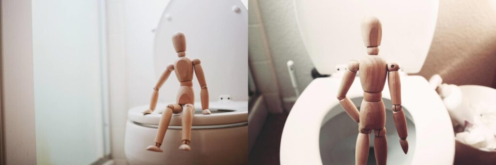 Two part image of wooden figurine sitting on or standing at a toilet in a bathroom